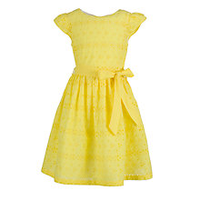 Buy John Lewis Girl Broderie Anglaise Dress, Yellow Online at johnlewis.com