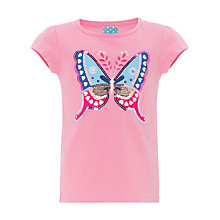 Buy John Lewis Girl Butterfly T-Shirt, Rose Online at johnlewis.com
