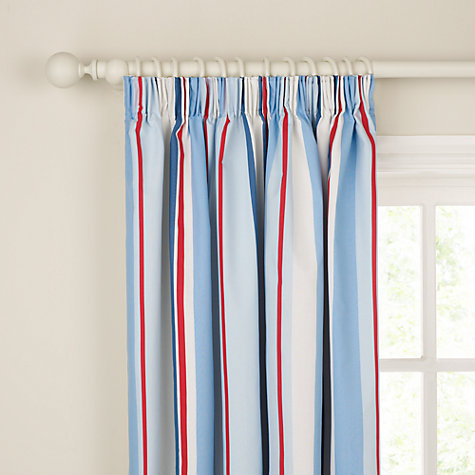 Buy little home at John Lewis Finlay Ahoy There Pencil Pleat Lined Curtains, Blue Online at johnlewis.com