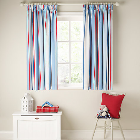 Buy little home at John Lewis Ahoy There Finlay Pencil Pleat Lined Curtains, Blue Online at johnlewis.com