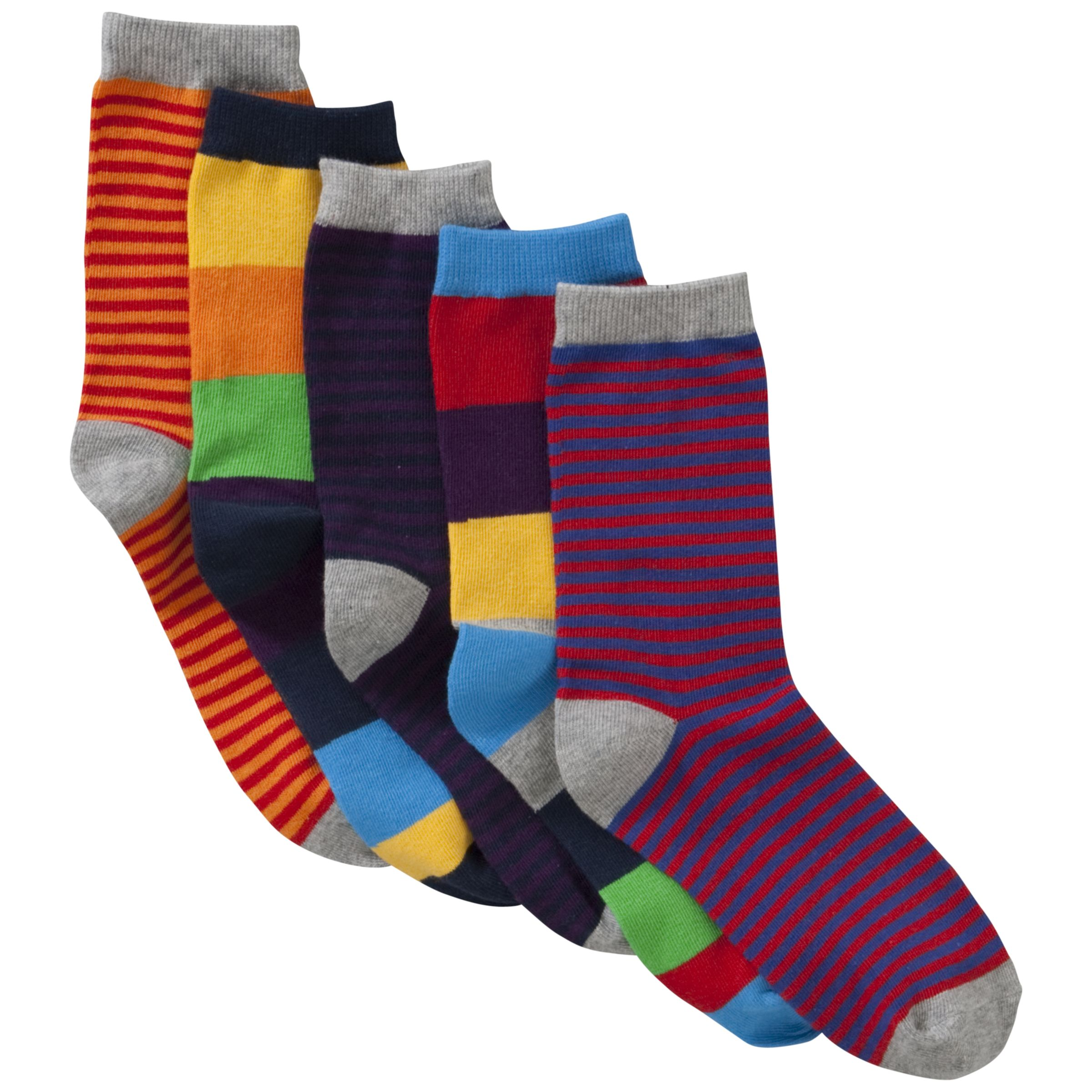John Lewis Boy Striped Socks, Pack of 5, Multi