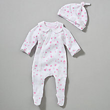 Buy Teddy & Me Confetti Hearts Sleepsuit and Hat, Pink Online at johnlewis.com