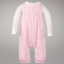Buy John Lewis Baby Corduroy Dungaree Set, Pink Online at johnlewis.com