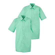 Buy Regents Park Community College Boys' Short Sleeved Shirt, Pack of 2, Green Online at johnlewis.com