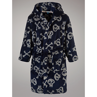 John Lewis Boy Skull and Crossbones Robe, Navy/Grey