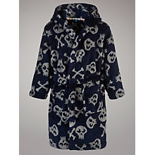 Buy John Lewis Boy Skull and Crossbones Robe, Navy/Grey Online at johnlewis.com