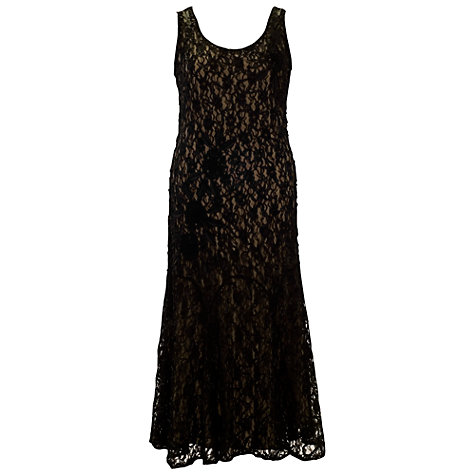 Buy Chesca Cornelli Dress with Contrast Lining, Black/Champagne Online at johnlewis.com