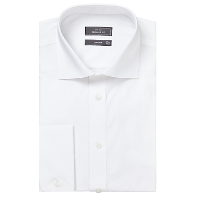 Image of John Lewis Pima Cotton Double Cuff Regular Fit Shirt, White