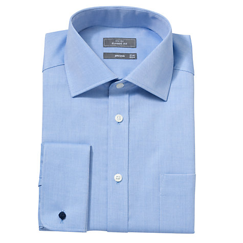 Buy John Lewis Non Iron Rib Twill Double Cuff XS Sleeve Classic Fit Shirt, Blue Online at johnlewis.com
