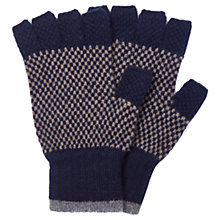 Buy Barbour Brodie Check Lambswool Fingerless Gloves, Navy Online at johnlewis.com