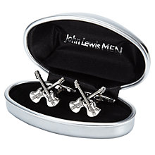 Buy John Lewis Novelty Guitar Cufflinks, Silver Online at johnlewis.com