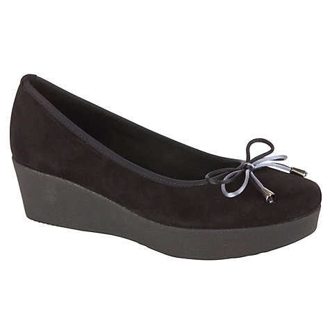 Buy John Lewis Cannes Bow Front Suede Wedge Shoes, Black Online at johnlewis.com