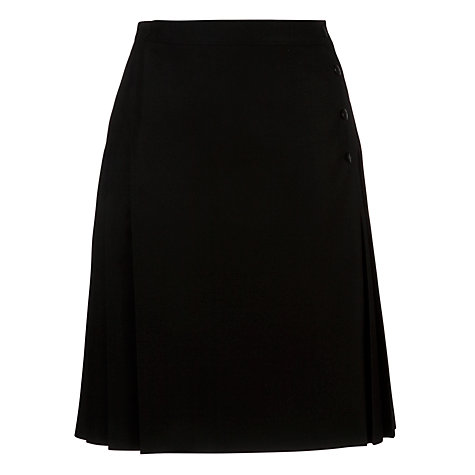 Buy Girls' Side Pleated School Kilt, Black Online at johnlewis.com