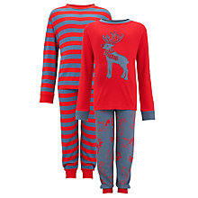 Buy John Lewis Boy Reindeer Pyjamas, Pack of 2, Red/Grey Online at johnlewis.com