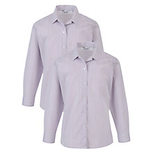 Buy The Perse Upper School Girls' Long Sleeved Revere Collar Blouse, Pack of 2, Purple Online at johnlewis.com