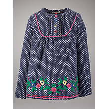 Buy John Lewis Girl Embroidered Flower Top, Indigo Online at johnlewis.com