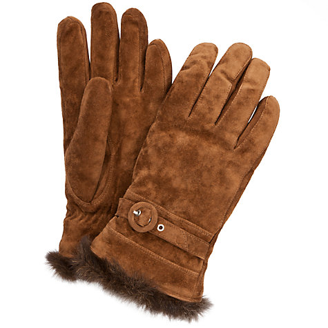 Buy John Lewis Suede Fur Trim Gloves, Tan Online at johnlewis.com
