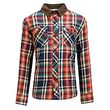 Buy John Lewis Boy Corduroy Trim Checked Shirt Online at johnlewis.com