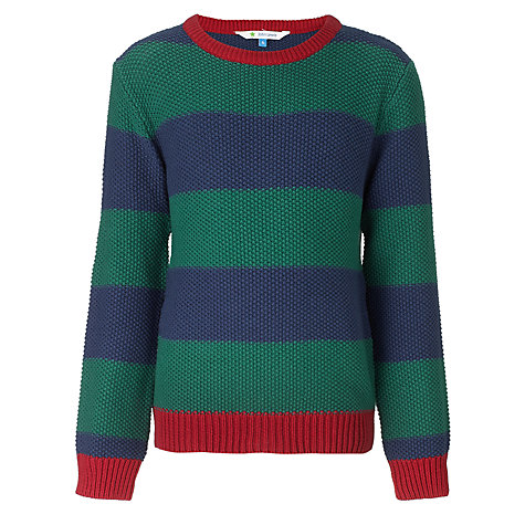 Buy John Lewis Boy Chunky Striped Jumper, Blue/Green Online at johnlewis.com