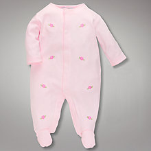 Buy John Lewis Baby Embroidered Floral Sleepsuit, Pink Online at johnlewis.com