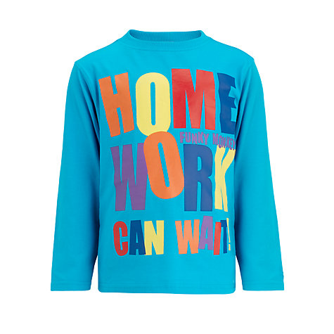 Buy Funky Monkey Homework Can Wait Long Sleeved Top, Turquoise Online at johnlewis.com