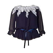Buy Chesca Lace Trim Gypsy Top, Navy/ Ivory Online at johnlewis.com