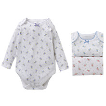 Buy John Lewis Baby Vintage Flower Long Sleeved Bodysuits, Pack of 3, Pink Online at johnlewis.com
