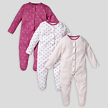 Buy John Lewis Baby Bows Sleepsuits, Pack of 3, Raspberry Online at johnlewis.com