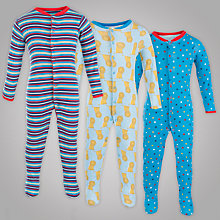 Buy John Lewis Baby Lion Sleepsuits, Pack of 3, Blue Online at johnlewis.com