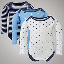 Buy John Lewis Baby Star Bodysuits, Pack of 3, Navy Online at johnlewis.com