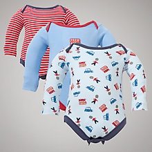 Buy John Lewis Baby Bus and Soldier Bodysuit, Pack of 3, Red/Blue Online at johnlewis.com