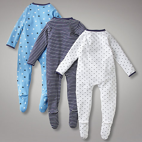 Buy John Lewis Baby Star Sleepsuits, Pack of 3, Navy Online at johnlewis.com