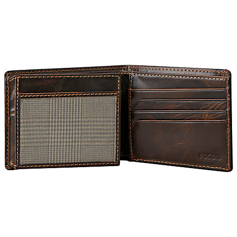 Buy Fossil Norton Zip Leather Bifold, Brown Online at johnlewis.com