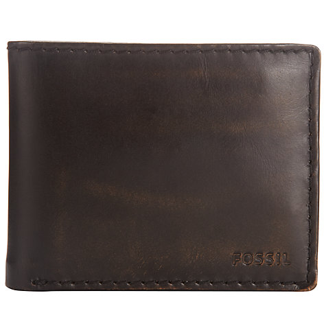 Buy Fossil Carson Traveller Leather Wallet, Dark Brown Online at johnlewis.com