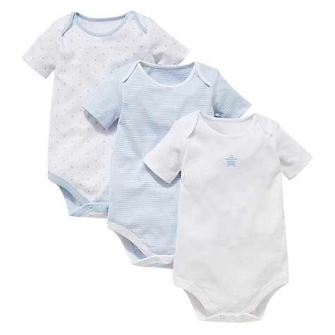 Buy John Lewis Baby Star Bodysuits, Pack of 3, Blue Online at johnlewis.com