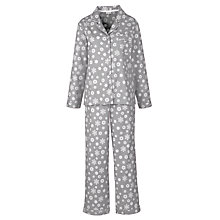 Buy John Lewis Snowflake Print Flannel Pyjama and Bed Sock Gift Set, Grey/Ivory Online at johnlewis.com