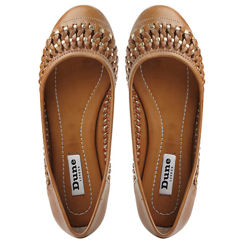 Buy Dune Moren Woven Leather Round Toe Pumps, Tan Online at johnlewis.com