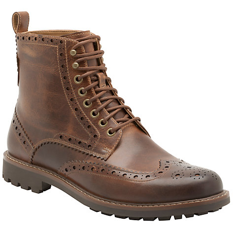 Buy Clarks Montacute Lord Wing Tip Brogue Leather Boots, Dark Tan Online at johnlewis.com