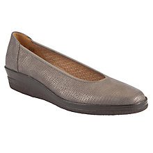 Buy Gabor Piquet Classic Snakeskin Ballerina Pumps, Grey Online at johnlewis.com