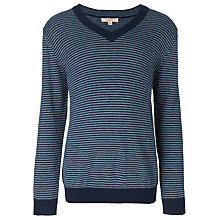 Buy John Lewis Heirloom Collection Striped V-Neck Jumper, Blue Online at johnlewis.com