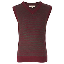 Buy John Lewis Heirloom Collection V-Neck Striped Vest, Burgundy/Grey Online at johnlewis.com