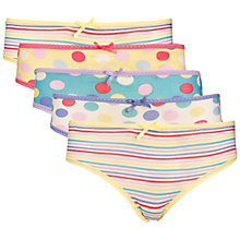 Buy John Lewis Girl Spot/Stripe Briefs, Pack of 5, Multi Online at johnlewis.com