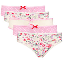 Buy John Lewis Girl Vintage Print Briefs, Pack of 5, Pink Online at johnlewis.com