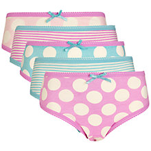 Buy John Lewis Girl Stripe/Spot Briefs, Pack of 5, Pink/Teal Online at johnlewis.com