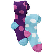 Buy John Lewis Girl Polka Dot Tights, Pack of 2, Blue/Purple Online at johnlewis.com