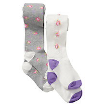 Buy John Lewis Girl Vintage Floral Tights, Pack of 2, Cream/Grey Online at johnlewis.com
