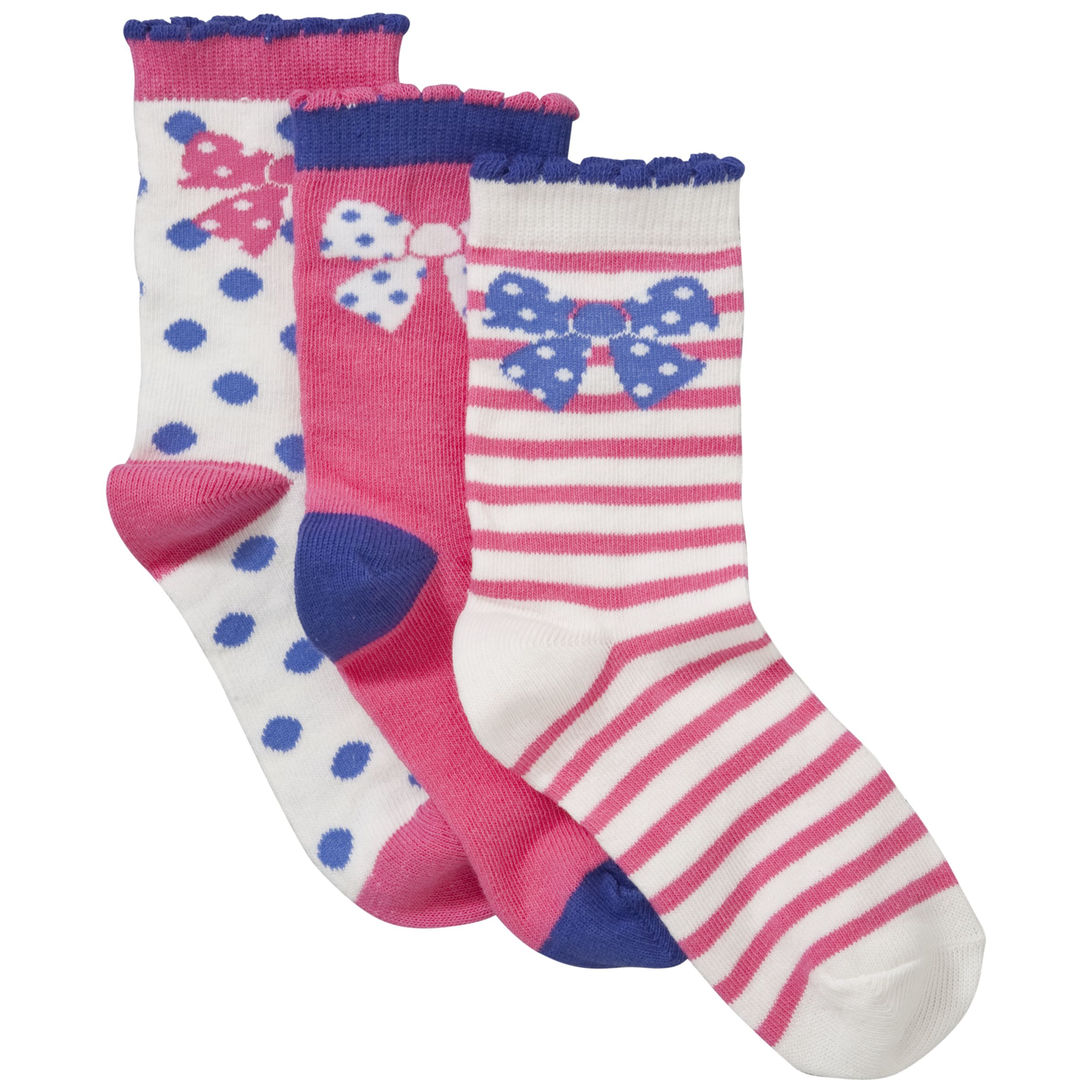 John Lewis Girl Bow Socks, Pack of 3, Pink/Blue