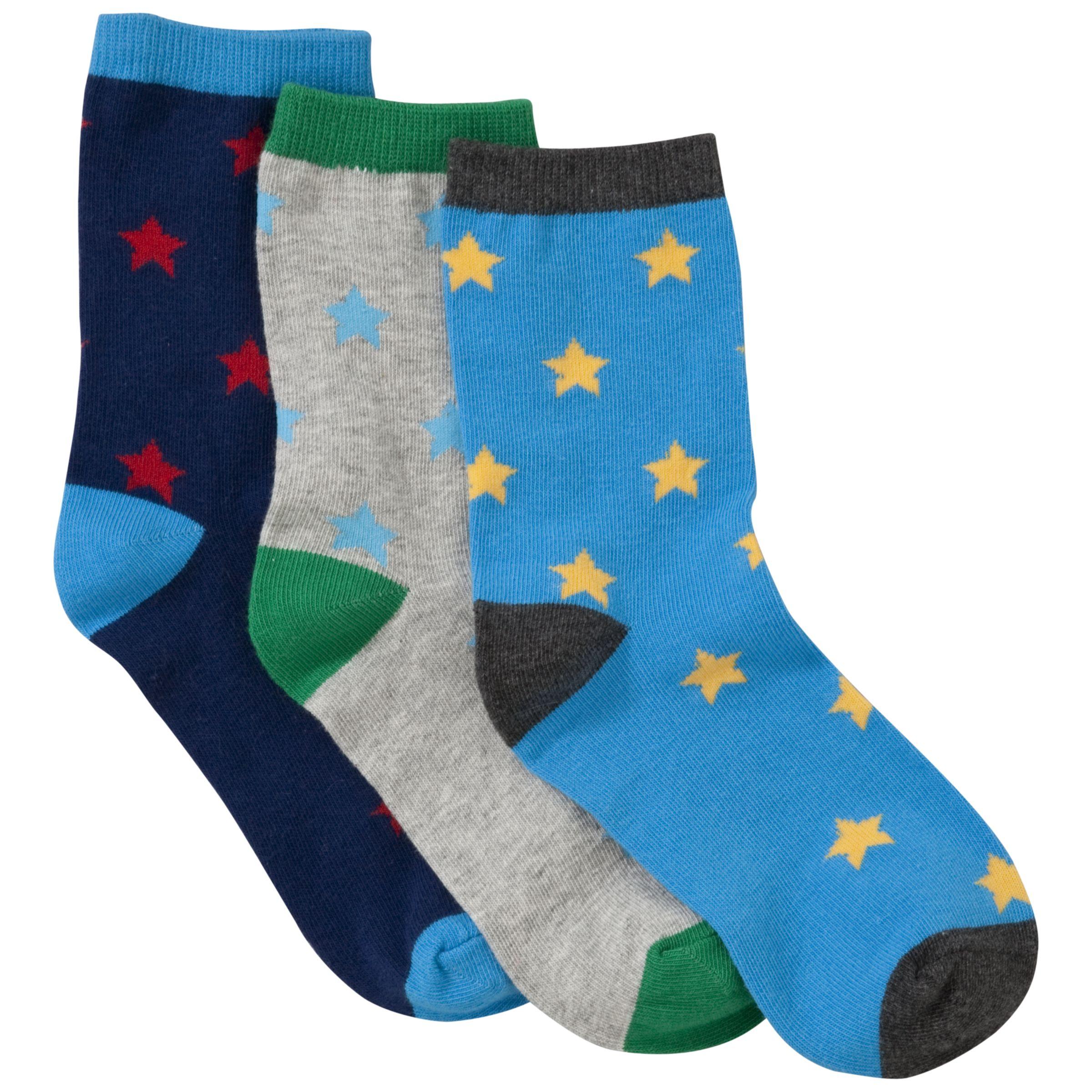 John Lewis Boy Star Socks, Pack of 3, Brights