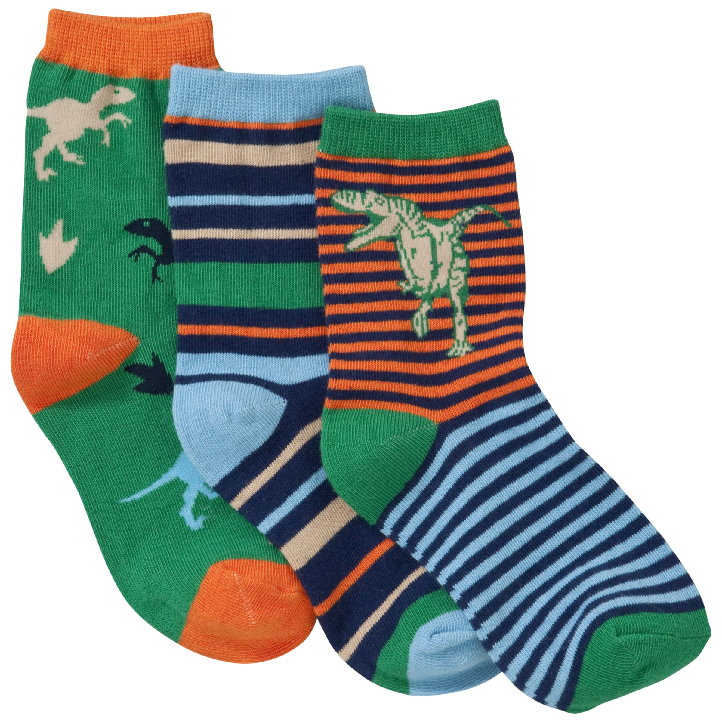 John Lewis Boy Dinosaur Socks, Pack of 3, Multi