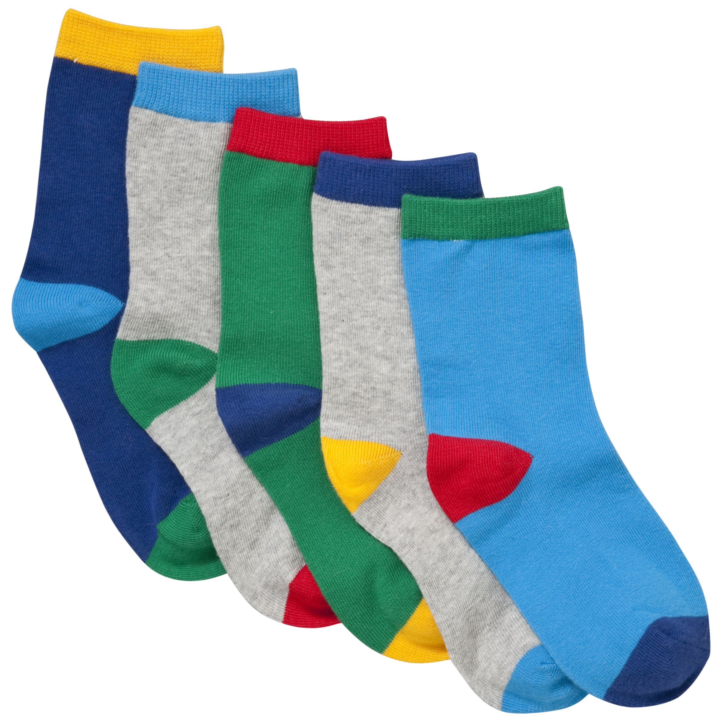 John Lewis Boy Bright Socks, Pack of 5, Multi